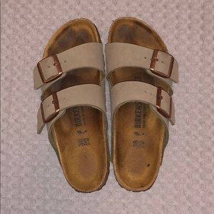 Grey and rose gold birkenstock